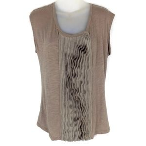 Ann Taylor Loft Small Gray Brown Pleated Top